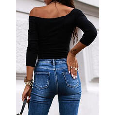 Solid One-Shoulder Long Sleeves Sexy Blouses
