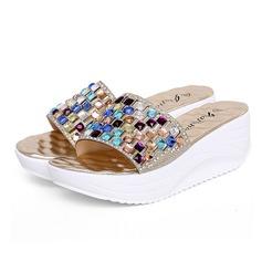 Vrouwen Kunstleer Wedge Heel Sandalen Slippers met Strass schoenen