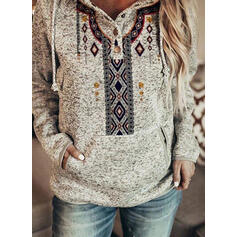 Print Pockets Long Sleeves Hoodie