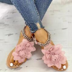 Women's PU Flat Heel Sandals Flats Peep Toe With Beading Flower shoes