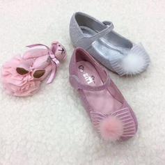 Leder funkelnden Glitter Flache Ferse Round Toe Geschlossene Zehe Flache Schuhe Blumenmädchen Schuhe mit Bowknot Feder