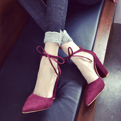 Donna Camoscio Tacco spesso Stiletto con Allacciato scarpe