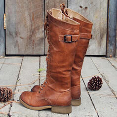 Women's PU Chunky Heel Boots Martin Boots With Buckle Lace-up Solid Color shoes