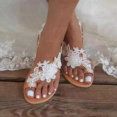 Women's PU Flat Heel Sandals Flats Toe Ring With Flower Solid Color shoes