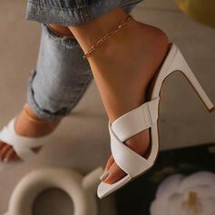 De mujer PU Tacón stilettos Sandalias Salón Encaje Punta cuadrada Tacones con Agujereado Color sólido zapatos