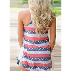 Print Striped Round Neck Sleeveless Casual Tank Tops