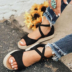 Women's PU Flat Heel Sandals Flats With Lace-up shoes