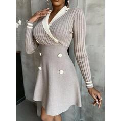 Solide Afneembare kraag Casual Lang Sweaterjurk