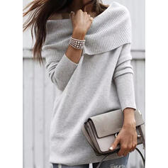 Solid Off the Shoulder Casual Sweaters