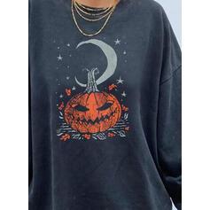 Inmprimé Halloween Col rond Manches longues Sweat-shirts