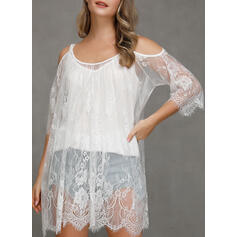 Lace/Solid 3/4 Sleeves/Cold Shoulder Sleeve Shift Above Knee Casual/Vacation Dresses