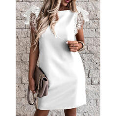 Lace/Solid Short Sleeves Sheath Above Knee Sexy/Party Dresses
