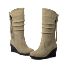 Women's Suede Wedge Heel Closed Toe Wedges Mid-Calf Boots shoes