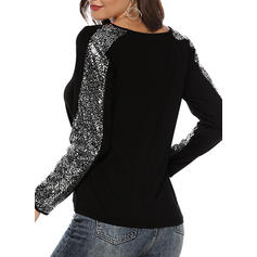 Patchwork V-neck Long Sleeves Casual Blouses