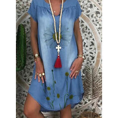 Print/Floral Short Sleeves Shift Knee Length Casual/Vacation/Denim Tunic Dresses