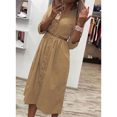 Solid Long Sleeves A-line Casual Midi Dresses