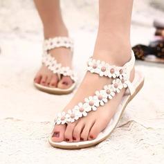 Kvinnor Konstläder Flat Heel Sandaler Peep Toe Slingbacks med Beading Blomma Elastiskt band skor