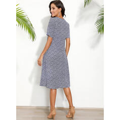 Print Short Sleeves Shift T-shirt Casual Midi Dresses