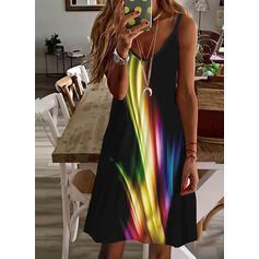 Print Sleeveless Shift Above Knee Vacation Slip Dresses