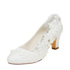 Femmes Soie comme du satin Talon bottier Escarpins avec Couture dentelle Une fleur Cristal Pearl