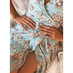 Print/Floral Short Sleeves A-line Above Knee Casual/Elegant Wrap/Skater Dresses