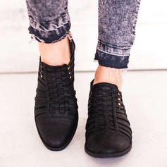 Women's PU Low Heel Pumps Closed Toe With Braided Strap shoes