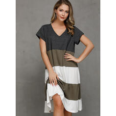 Color Block Short Sleeves Shift Knee Length Casual T-shirt Dresses