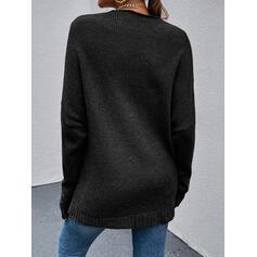 Sólido Cuello en V Casual Suéteres