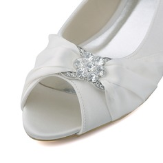 Women's Satin Wedge Heel Peep Toe Wedges With Ruched Crystal