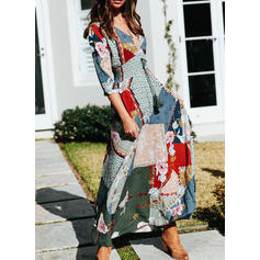 Print/Floral/Patchwork 3/4 Sleeves A-line Casual/Boho/Vacation Maxi Dresses