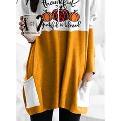 Print Halloween Figure Round Neck Long Sleeves Sweatshirt
