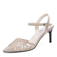 Women's Microfiber Leather Spool Heel Closed Toe Slingbacks With Crystal