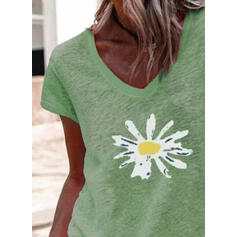 Virágos Minta V-nyak Rövidujjú Μπλουζάκια