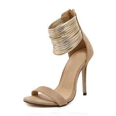 Women's Suede Stiletto Heel Sandals Pumps Peep Toe With Zipper shoes
