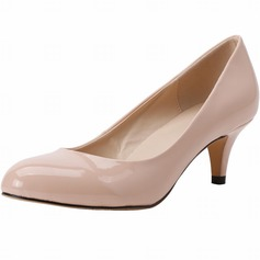 Women's Patent Leather Cone Heel Pumps Closed Toe shoes
