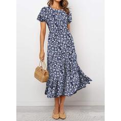 Print/Floral Short Sleeves/Puff Sleeves A-line Casual/Elegant Midi Dresses