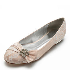 Women's Lace Leatherette Flat Heel Closed Toe Flats With Bowknot