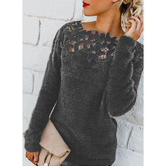 Patchwork Round Neck Long Sleeves Casual Blouses