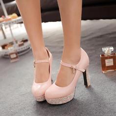 De mujer Cuero Tacón ancho Salón con Lentejuelas Material Block zapatos