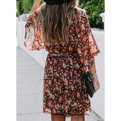 Print/Floral 3/4 Sleeves A-line Above Knee Casual/Vacation Dresses