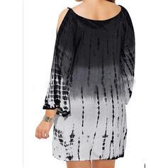 Plus velikost uvázat barvivo Rukáv s Odhalenými Rameny Šaty Shift Nad kolena Neformální Dovolená Šaty