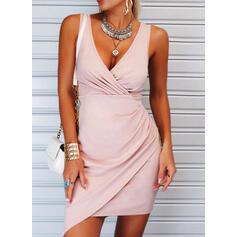 Solid Sleeveless Sheath Above Knee Elegant Dresses