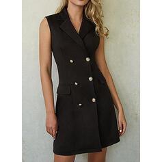 Solid Sleeveless Sheath Above Knee Little Black/Casual/Elegant Dresses