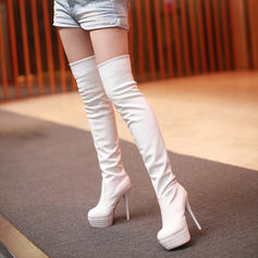 Women's PU Stiletto Heel Pumps Platform Boots Over The Knee Boots With Others shoes