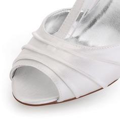 Mulheres Cetim Salto carretel Peep toe Sandálias Sapatos Tingíveis