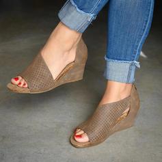 Femmes PU Talon compensé Sandales Escarpins Plateforme Compensée À bout ouvert avec Zip chaussures