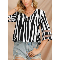 Striped V-Neck 1/2 Sleeves Casual Elegant Blouses