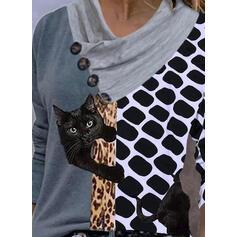 Color Block Leopard Trykk Animal V-hals Lange ermer T-skjorter