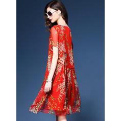 Silk With Stitching/Print Knee Length Dress