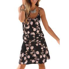 Nadrukowana/Kwiatowy Bez rękawów W kształcie litery A Nad kolana Casual Sukienki
